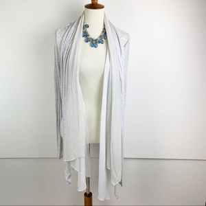 CABI Long Sleeve Sheer Collar Open Cardigan Med